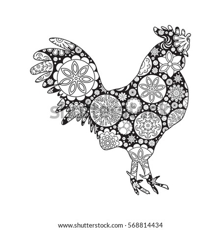 New Coloring Books For Adults : Vector monochrome floral decorative pattern coloring stock