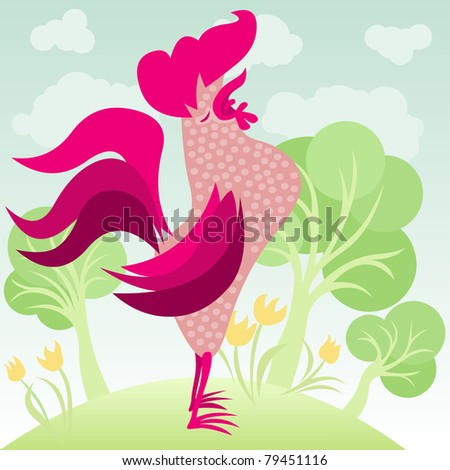 rooster singing in a flowery garden - for vector version see image no. 79310719
