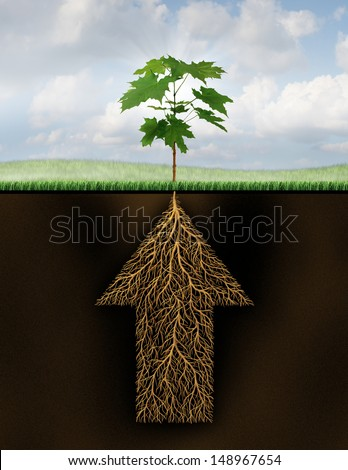 Root of success as a growth business concept with a new sprouting tree emerging from underground roots shaped as an arrow that is going up as a financial symbol of future investment potential. - stock photo
