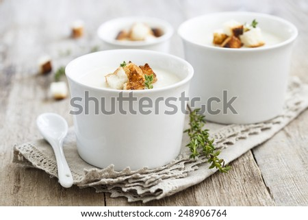 Root vegetables soup - stock photo