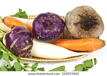 Root vegetables used for salad mostly in winter season - stock photo