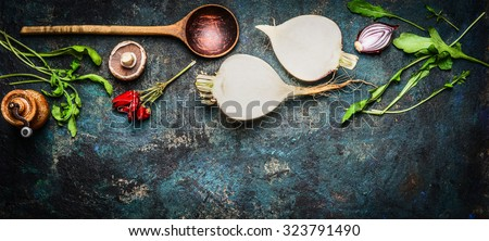 Root vegetables with wooden spoon and fresh ingredients for  healthily cooking on rustic background, top view, banner. Vegan or diet food concept - stock photo