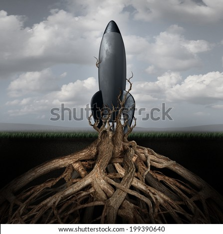 Rooted down concept with an aging rocket ship being held down by growing tree roots as a metaphor for uncompetitive and abandoned strategy of past forgotten potential and broken dreams of glory. - stock photo
