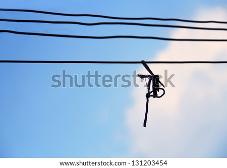 rope against blue sky - stock photo