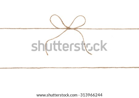 Rope and bow isolated on white. - stock photo