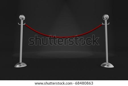 Rope barrier in a dark scene with volume lights