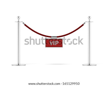 rope barrier with a vip sign - stock photo