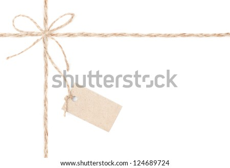 Rope bow tag . Jute wrapping  for present and pricing. Close up. - stock photo