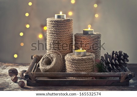 Rope candlesticks made by hemp - stock photo