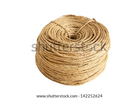 Rope Coiled on white background - stock photo