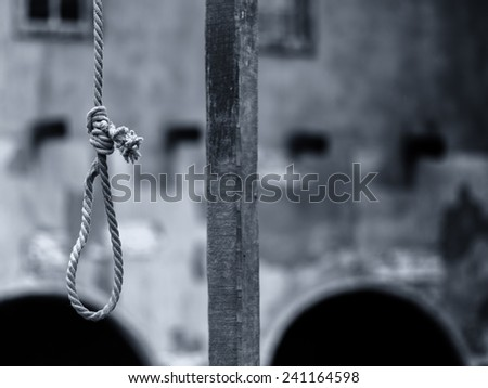 Rope execution scaffold closeup detail - stock photo