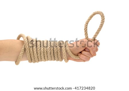 Rope in hand isolated on white
