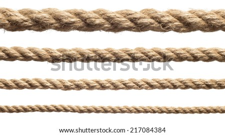 rope isolated on white background. Set of various ropes - stock photo