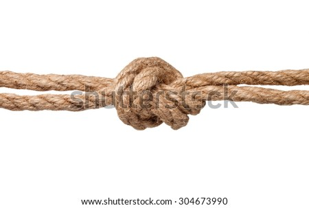Rope knot isolated on a white background. - stock photo