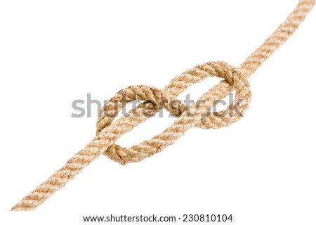 Rope knot isolated on white background - stock photo