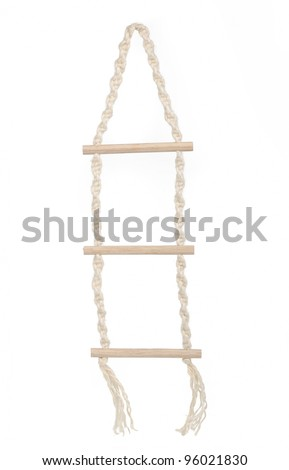 Rope ladder, isolated on white - stock photo