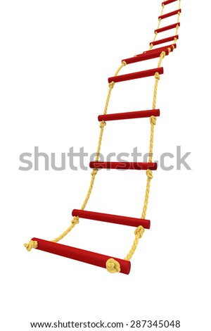 Rope ladder isolated on white background - stock photo