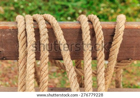 rope lay on the wood prepare for tied the sail - stock photo