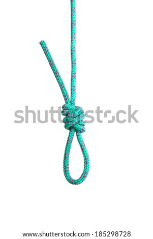 Rope loop. Collection of photos - knots used in mountaineering and rock-climbing - stock photo