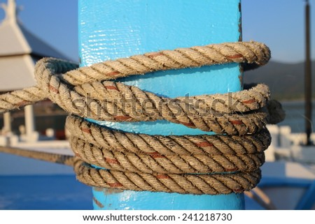 Rope mooring the boat can have the island to the anchor , or what used to port . There are many benefits of rope And life is like a rope to be bound by the cycles stories end.