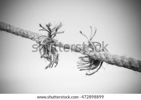 Rope Nearly Torn Apart Isolated   Risk Concept