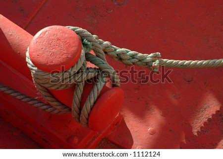 Rope of boat knotting - stock photo