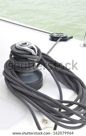 rope pulley on a yacht