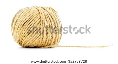 Rope skein, hemp roll, braided ball, isolated on white background - stock photo