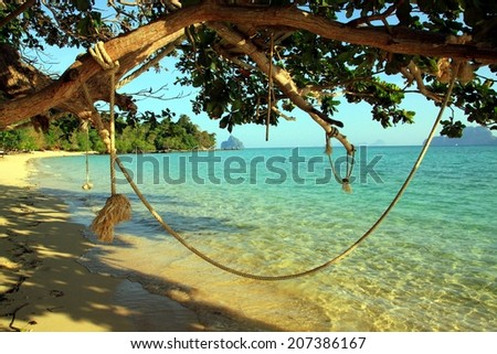 Rope swing on a beautiful Koh Kradan island, Thailand/ Beach swing
