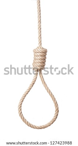 Rope with hangman's noose isolated on white background. - stock photo