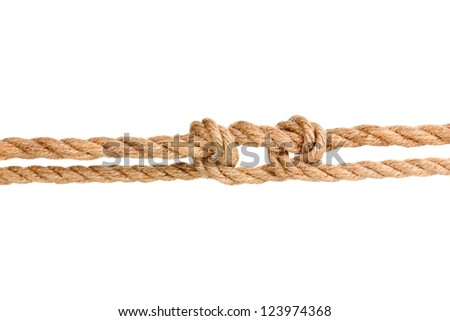 Rope with knot isolated on white