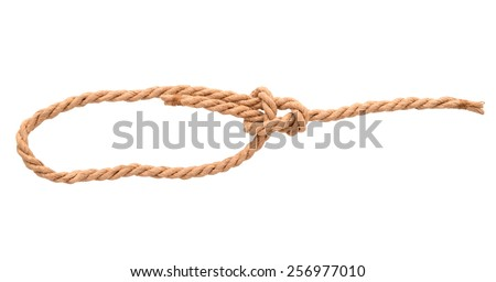 Rope with knot. Isolated on white background
