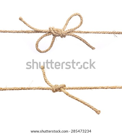 Rope with knot, with knot and bowknot, isolated on white. - stock photo