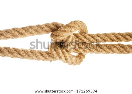 Rope with reef knot on white background