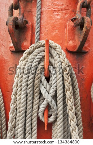 Ropes and mast details of a sailing boat - stock photo