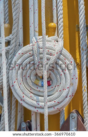 Ropes and mast details of sailing boat - stock photo