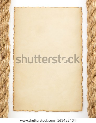 ropes and old paper isolated on white background