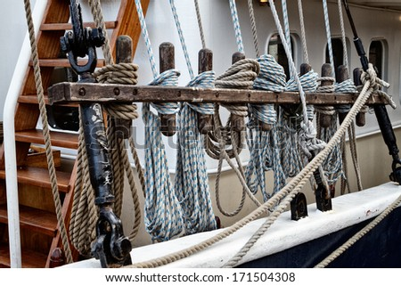 Ropes at a Sailing Ship, Detail Shot - stock photo