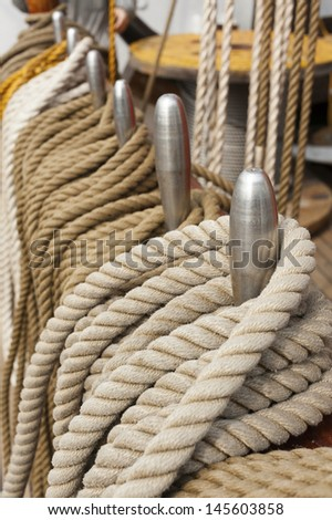 Ropes on deck  - stock photo