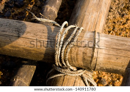 Ropes tied in use for so long that it fell apart completely overhauled look to lean on for safety.