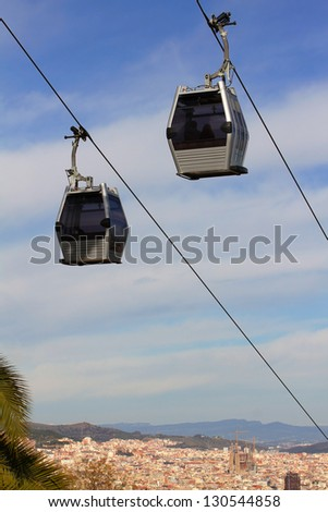 Ropeway on background of the panoramic view of Barcelona, Spain