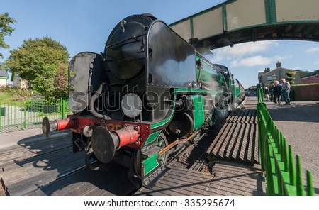 ROPLEY, UK - 19 SEPTEMBER: The vintage Cheltenham 925 steam locomotive at the Mid-Hants Watercress railway station of Ropley, UK on 19 Septermber, 2015