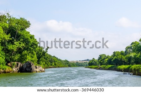 Ropotamo river in bulgaria is one of the most popular tourist attraction in burgas area especially for ist river cruises reaching an estuary of the black see and possibility to see egrets on the way. - stock photo