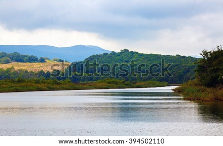 Ropotamo river in Bulgaria. River with thickets of green trees and shrubs along the banks. Lush green foliage and mountains covered with forests on the banks. - stock photo