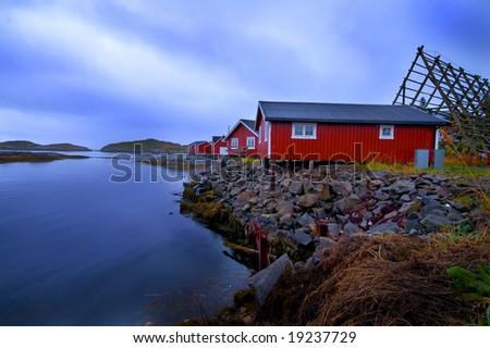 Rorbu cabins, Lofoten Islands, Svolvaer, Norway - stock photo