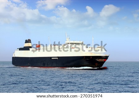 Roro ship sailing in open waters - stock photo