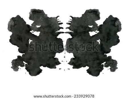Rorschach inkblot test illustration, random abstract background. - stock photo