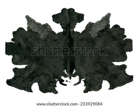 Rorschach inkblot test illustration, random abstract background. - stock photo