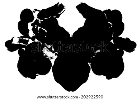 Rorschach test, handmade, acrylic on paper blots, abstract symmetric shapes in painting. Black and white. Isolated. Raster version. - stock photo