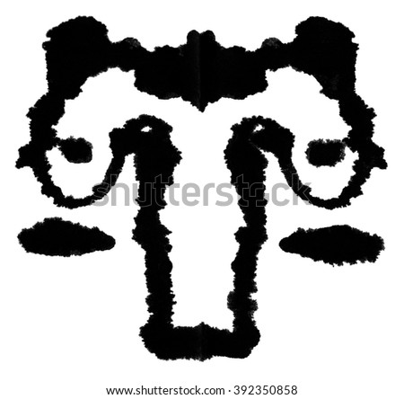 Rorschach Test. Ink blot for psychiatric evaluations. - stock photo